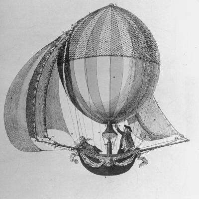 Eighteenth Century Drawing of Hot Air Balloon Steered by Sails--Photographic Print
