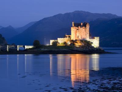 Eilean Donan Castle Floodlit at Night on Loch Duich, Near Kyle of Lochalsh, Highland-Lee Frost-Photographic Print