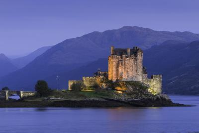 Eilean Donan Castle Floodlit at Night on Loch Duich, Scotland, United Kingdom-John Woodworth-Photographic Print