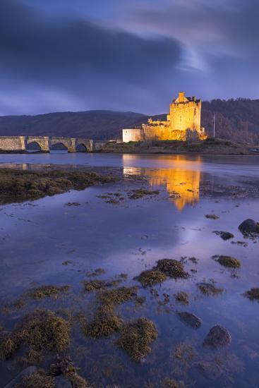 Eilean Donan Castle on Loch Duich at Twilight, Western Highlands, Scotland. Autumn (November)-Adam Burton-Photographic Print