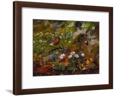 Ein Rotkehlchen am Fuße eines Baumes. 1891-Olaf August Hermansen-Framed Giclee Print