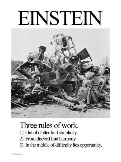 Einstein; Three Rules of Work-Wilbur Pierce-Art Print
