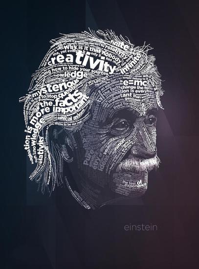 Einstein Typography Quotes-Lynx Art Collection-Art Print