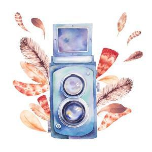 Retro Photo Camera with Feathers by Eisfrei