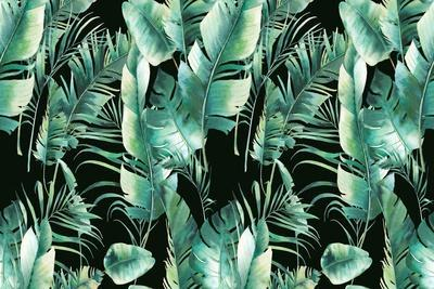 Summer Palm Tree and Banana Leaves Pattern