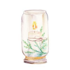 Vintage Christmas Decor. Watercolor Glass Jar with Candle Light and Christmas Tree Branches by Eisfrei