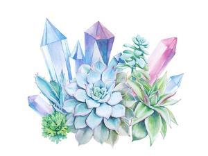 Watercolor Bouquet of Succulents and Gem Stones by Eisfrei