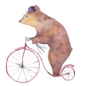 Watercolor Cartoon Bear on Retro Bicycle. Hand Drawn Fairytale Animal with Hat and Vintage Transpor by Eisfrei