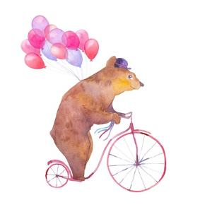 Watercolor Cartoon Bear on Retro Bicycle with Air Balloons. Hand Drawn Fairytale Animal with Hat An by Eisfrei