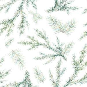 Watercolor Christmas Tree Branches Seamless Pattern. Hand Painted Texture with Fir-Needle Natural E by Eisfrei