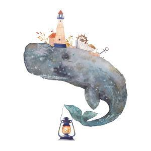 Watercolor Fantasy Blue Sea Whale with Lighthouse by Eisfrei