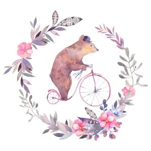 Watercolor Floral Wreath and Circus Bear on Bicycle by Eisfrei