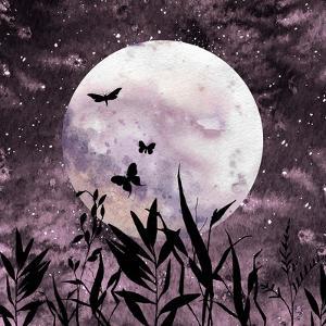 Watercolor Full Moon Art by Eisfrei