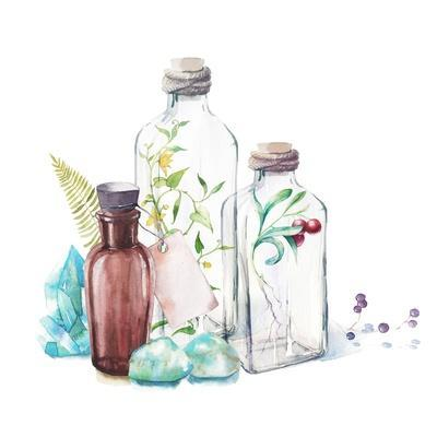 Watercolor Glass Bottles, Sprouts of Plants, Fern Leaf, Berries and Gem Stones
