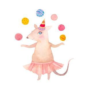Watercolor Juggler Mouse with Party Hat by Eisfrei