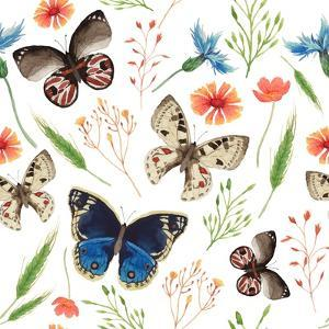 Watercolor Natural Pattern with Field Herbs and Butterfly. Seamless Texture with Floral and Herbal by Eisfrei