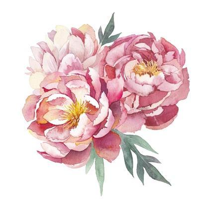 Watercolor Peonies Bouquet