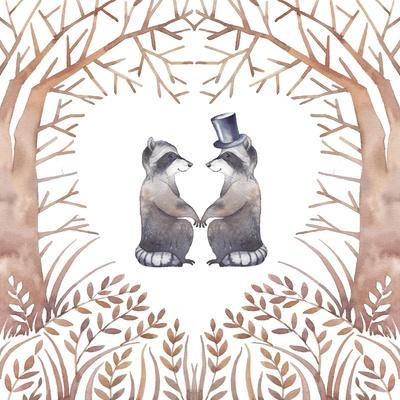 Watercolor Raccoon Couple in Love
