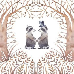 Watercolor Raccoon Couple in Love by Eisfrei