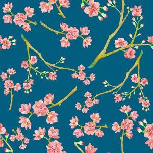 Watercolor Sakura Pattern. Seamless Natural Texture with Blossom Cherry Tree Branches. Hand Drawn J by Eisfrei