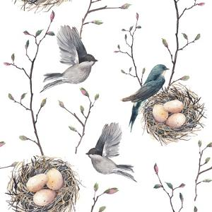 Watercolor Seamless Pattern with Nest, Birds and Tree Twigs. Vector Hand Drawn Spring Background. V by Eisfrei