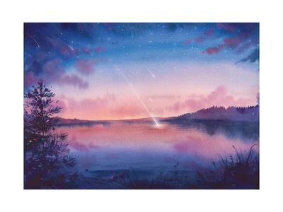 Watercolor Star and Lake Landscape