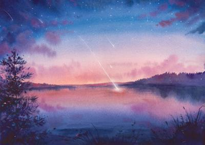 Watercolor Star and Lake Landscape by Eisfrei