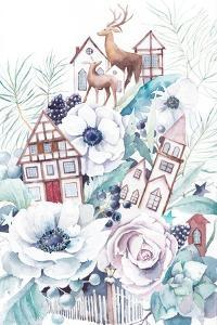 Watercolor Winter Fairytale Illustration. Hand Painted Bouquet with Old Houses, Deers, Anemone Flow by Eisfrei