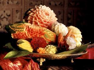 Flowers Carved from Fruit and Vegetables in a Bowl by Eising Studio Food Photo and Video