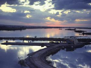 Cafe on a Jetty at Raqqa at Sunset, Euphrates Valley, Syria, Middle East by Eitan Simanor