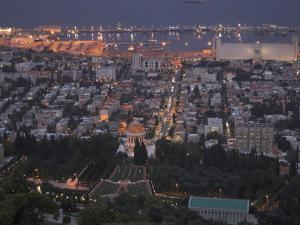 City at Dusk, with Bahai Shrine in Foreground, from Mount Carmel, Haifa, Israel, Middle East by Eitan Simanor
