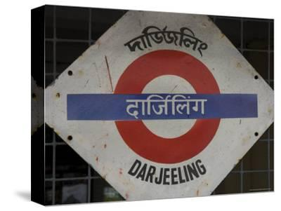 Close up of a British Style Station Sign at Train Station, Darjeeling, West Bengal State, India