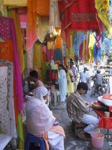 Colourful Clothes Shops, Chandni Chowk Bazaar, Old Delhi, Delhi, India by Eitan Simanor