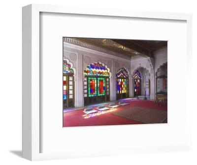 Colourful Stained Glass in the Maharaja's Throne Room, Meherangarh Fort Museum, Jodhpur, India