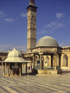 Courtyard with Fountains and Minaret Beyond, Jami'A Zaqarieh Grand Mosque, Aleppo, Syria by Eitan Simanor