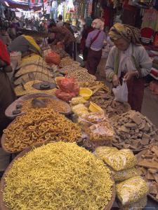 Dry Food on Indoor Stalls in Market, Augban, Shan State, Myanmar (Burma) by Eitan Simanor