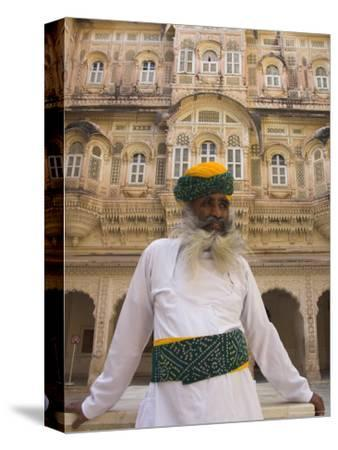 Elderly Museum Guard in White Uniform with Yellow and Green Turban, Meherangarh Fort