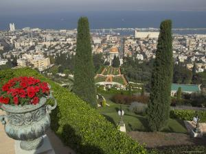 Elevated View of City Including Bahai Shrine and Gardens, Haifa, Israel, Middle East by Eitan Simanor