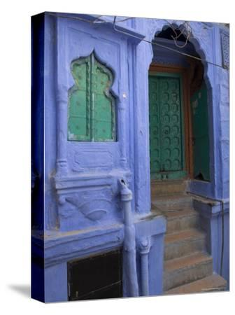 Entrance Porch and Window of Blue Painted Haveli, Old City, Jodhpur, Rajasthan State, India