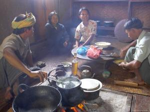 Family Cooking in Kitchen at Home, Village of Pattap Poap Near Inle Lake, Shan State, Myanmar by Eitan Simanor