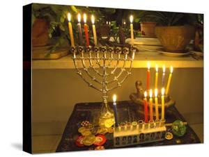 Jewish Festival of Hanukkah, Three Hanukiah with Four Candles Each, Jerusalem, Israel, Middle East by Eitan Simanor
