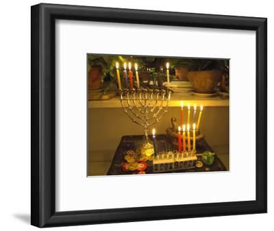 Jewish Festival of Hanukkah, Three Hanukiah with Four Candles Each, Jerusalem, Israel, Middle East