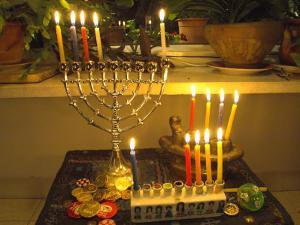 Jewish Festival of Hanukkah, Three Hanukiah with Four Candles Each, Jerusalem, Israel, Middle East by Eitan Simanor