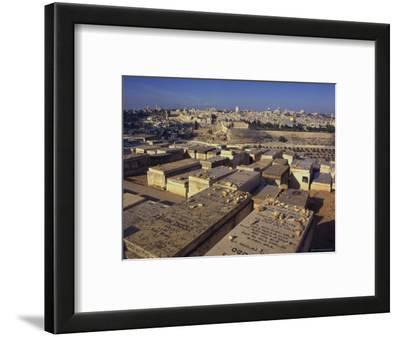 Jewish Tombs in the Mount of Olives Cemetery, with the Old City Beyond, Jerusalem, Israel