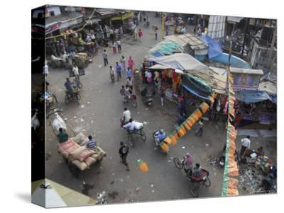 Local Market and Rickshaws Seen from Above, Pahar Ganj, Main Bazaar, New Delhi, Delhi, India