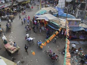 Local Market and Rickshaws Seen from Above, Pahar Ganj, Main Bazaar, New Delhi, Delhi, India by Eitan Simanor