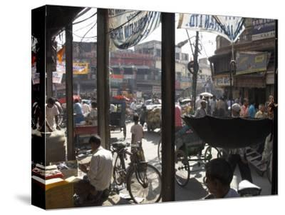 People and Vehicles in the Spice Market, Chandni Chowk Bazaar, Old Delhi, Delhi, India
