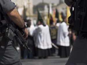 Security Forces Guarding Palm Sunday Catholic Procession, Mount of Olives, Jerusalem, Israel by Eitan Simanor