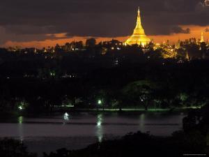Shwedagon Paya at Dusk with Kandawgyi Lake in Foreground, Yangon (Rangoon), Myanmar (Burma) by Eitan Simanor