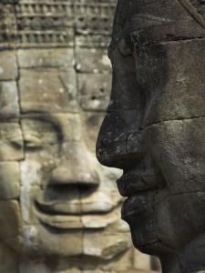 Stone Statuary of Human Faces, Ta Prohm Temple, Angkor, Siem Reap by Eitan Simanor